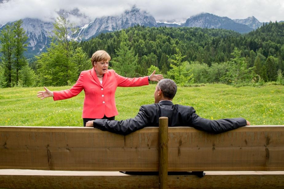 Avec le président Obama en marge d'un sommet du G7 en juin 2015 près de Garmisch-Partenkirchen, dans le sud de l'Allemagne