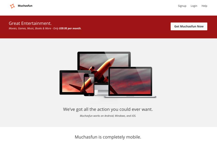 Page d'accueil du site Muchasfun