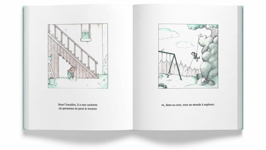 Extrait de Seul avec soi, texte et illustrations de Geoffrey Hayes, traduction de Nadine Robert, éditions Le Lièvre de Mars