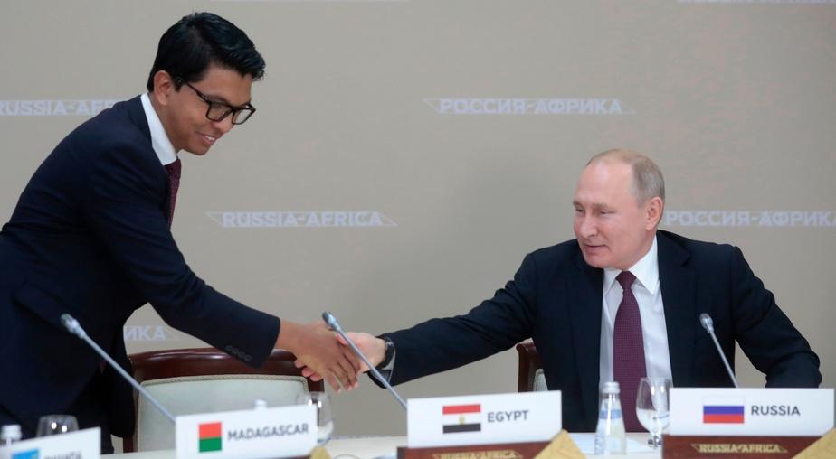 Le Président de la République de Madagascar, Andry RAJOELINA, en compagnie du Président de la Fédération de Russie, Vladmir POUTINE.