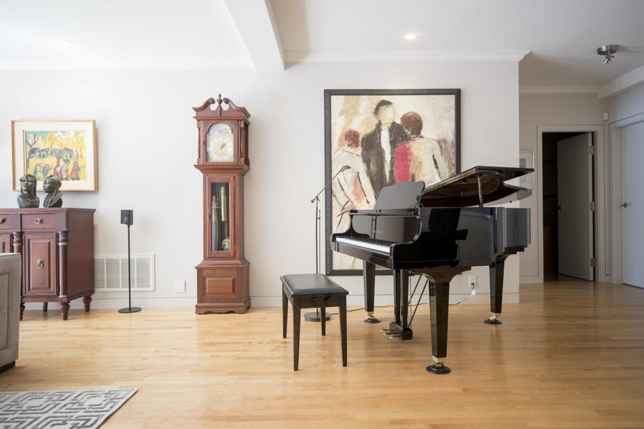 L'imposant piano n'est nullement à l'étroit entre la cuisine et le séjour.