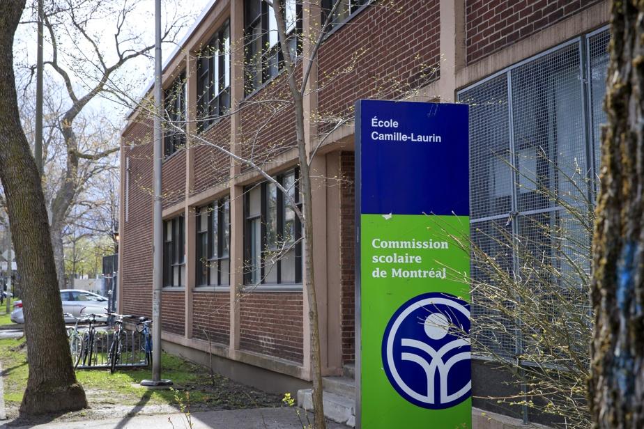 Devanture de l'école Camille-Laurin, au 8000, avenue de l'Épée