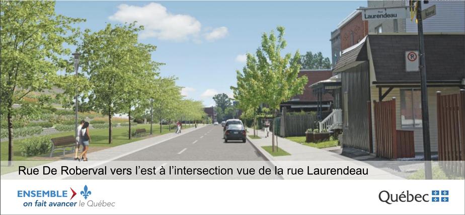 Représentation de la rue De Roberval à la fin des travaux, entre autres, dans un document présenté le 26février2016 par Stéphan Deschênes, directeur du projet.