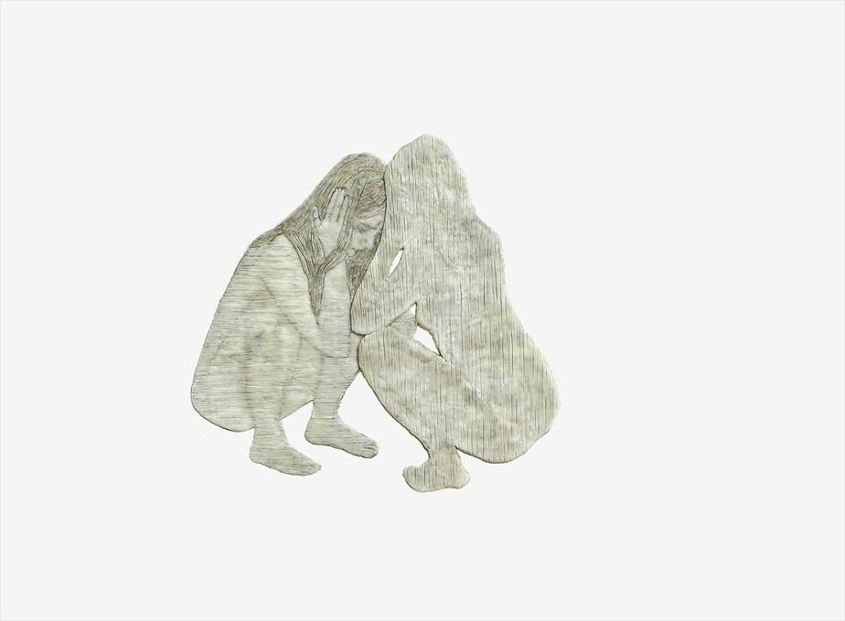 La réflexion, 2009, Julie Ouellet, peinture à la cire et acrylique sur bois, 61 x 61cm