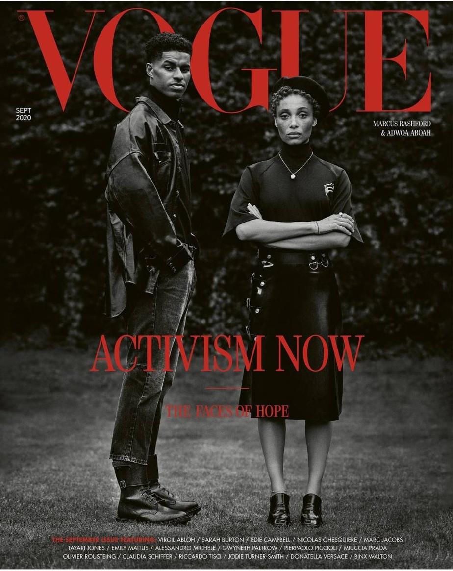 Le numéro du Vogue UK est consacré à l'activisme en proposant une galerie de portraits de personnes engagées, avec en couverture la mannequin Adwoa Aboah et le footballeur Marcus Rashford, photographiés par Misan Harriman, qui est le premier photographe noir à prendre la une en 104ans de l'histoire du magazine anglais.