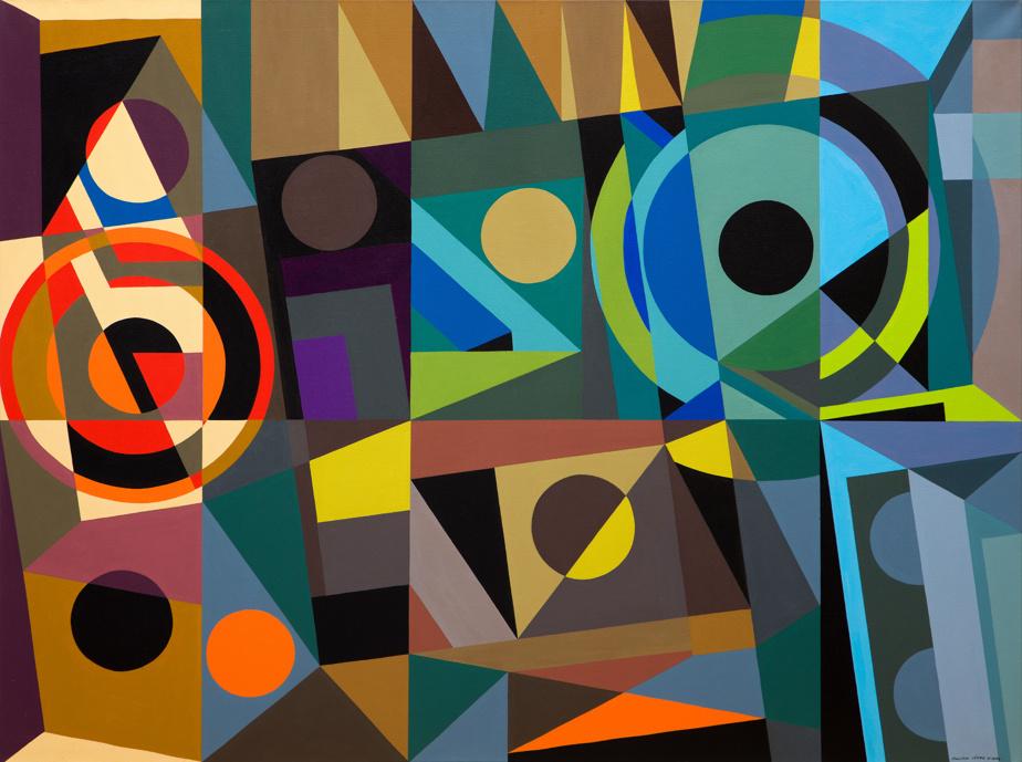 Kaléidoscope-deux, 1999, Jean-Paul Jérôme (1928-2004), acrylique sur toile, 76,2cm x 101,6cm. Estimation: entre 13000$ et 16000$.