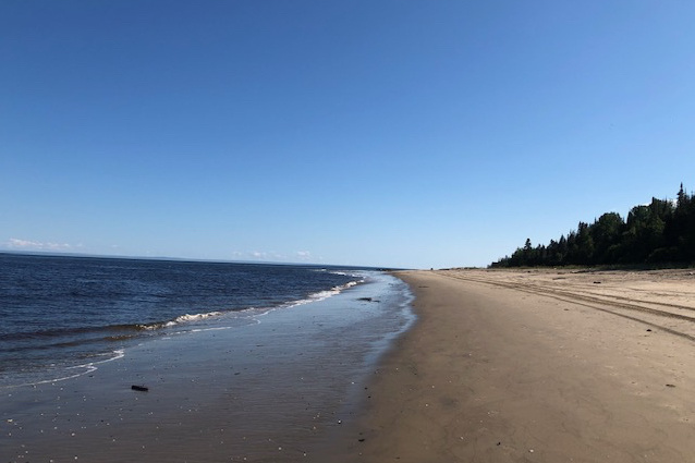«En visite sur la Côte-Nord, nous avons découvert une plage «vierge» de plus ou moins 15km entreles villages de Forestville et Portneuf-sur-Mer. Une marche de plusieurs heures loin de toute civilisation… Seuls sur une plage de sable fin à perte de vue, avec les nombreux oiseaux marins, despauses à contempler la nature, un bain de glaise pour la peau et une baignade dans l'eau «fraîche». Un autre beau trésor caché que le Québec a à nous offrir!» — Martin Foster
