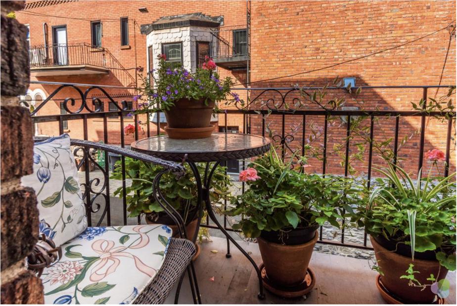 Il y a un petit balcon qui surplombe une jolie ruelle boisée à l'arrière. Selon les propriétaires, il y a peu de bruit même si on est à deux jets de pierre de la rue Sherbrooke.