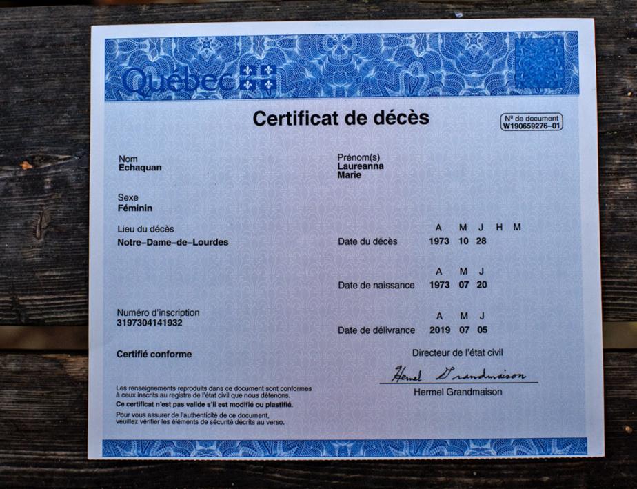 Certificat de décès délivré par le Directeur de l'état civil