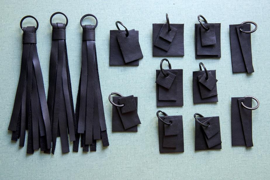 Avec les retailles de ses sacs, Elisa C-Rossow fait des porte-clés, qu'elle vend 25$.
