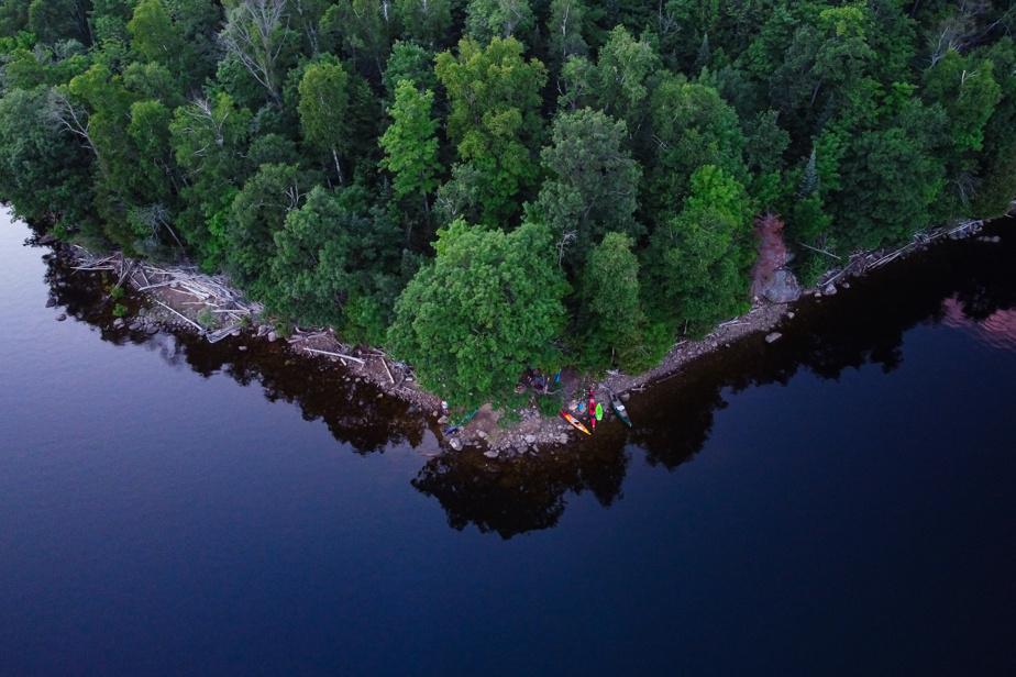 Vue aérienne de notre emplacement de camping dans l'île aux Pères