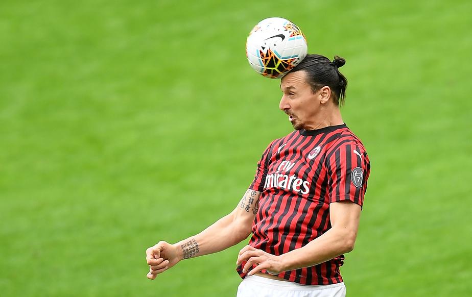 Zlatan Ibrahimovic en action avec l'AC Milan lors d'un match le 8 mars 2020