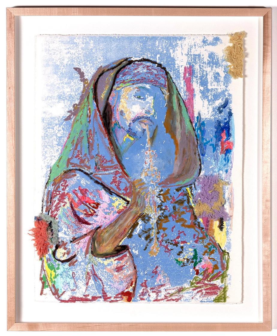 The criminal Artist, no 3, sérigraphie, tissus, feuille d'or et pastel à l'huile. Inspiré de la peinture The Moorish Smoker, de Gyula Tornai, dans le cadre d'un projet artistique sur la contrefaçon.
