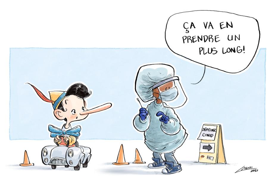 Dépistage de la COVID-19 La pandémie de COVID-19 a inspiré l'illustration de NicolasGagnon-Fee, de Rosemère.