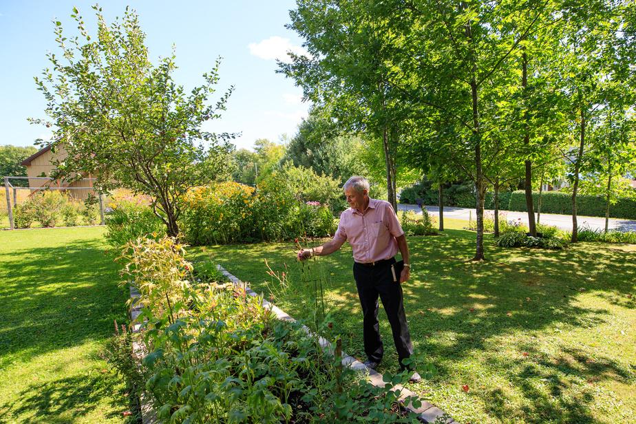 Réal Rousseau tire profit du vaste terrain pour faire pousser tout ce qu'il désire. On voit, à l'arrière, la route qui divise la propriété en deux.