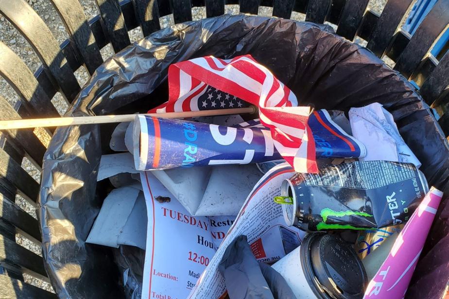 L'une des poubelles du National Mall fouillées par le conservateur Frank Blazich