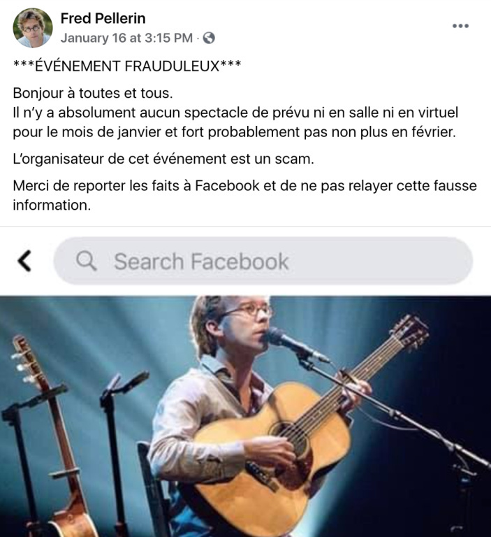 Message d'avertissement de Fred Pellerin sur Facebook pour dénoncer l'arnaque