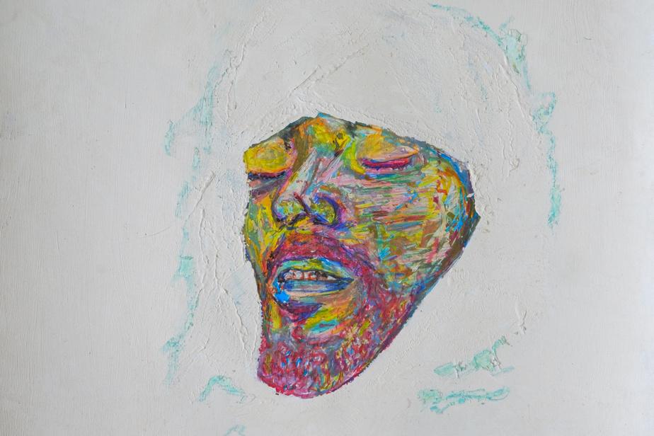 Une œuvre de la série Pouvoir assassin. Le masque mortuaire du chanteur kabyle Matoub Lounès, assassiné en 1998.