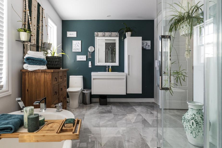 Sandra Lyne Perreault voulait ajouter de la couleur dans la salle de bains. Son fils Jérémy et elle ont eu plusieurs discussions avant de s'entendre sur la teinte de la peinture, qui couvrirait un des murs. Ils sont heureux tous les deux du résultat.