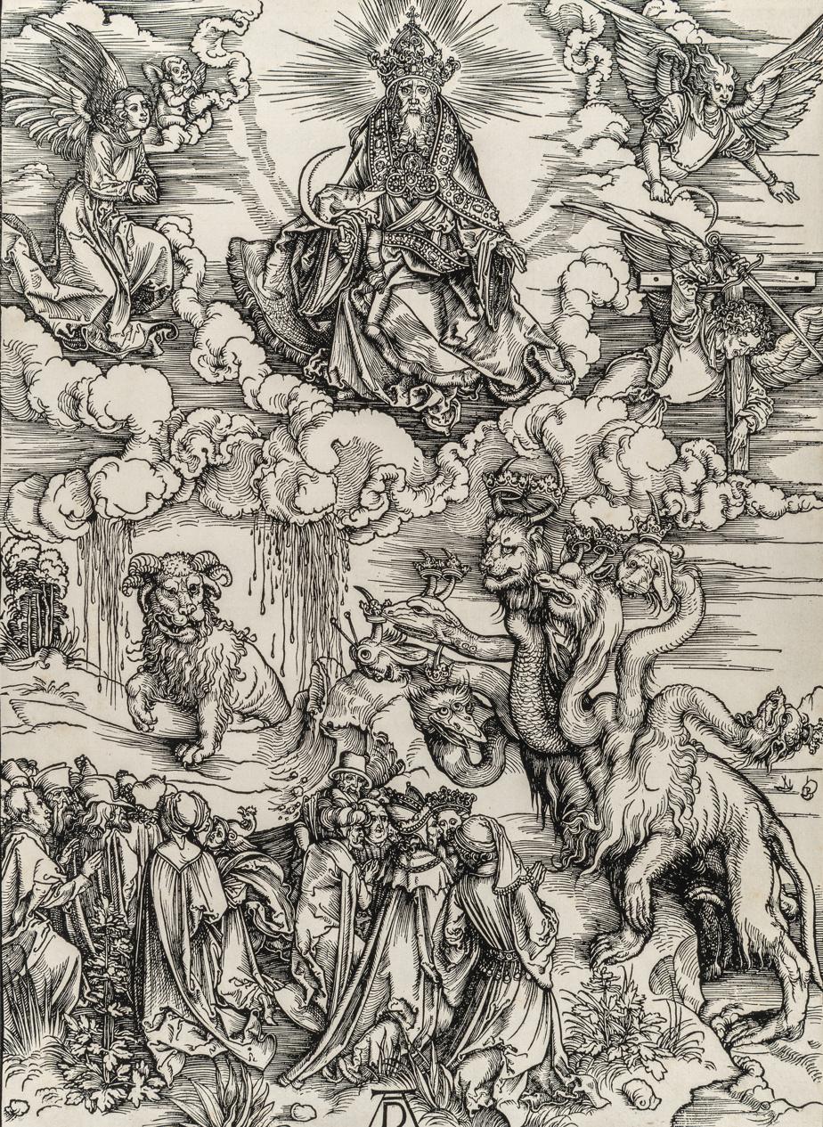 Le dragon à sept têtes et la bête aux cornes d'agneau, de la série L'Apocalypse, 1496-1497, Albrecht Dürer, gravure sur bois de fil. Achat, fonds de Claude Dalphond à la mémoire de Gisèle Lachance, fonds du DrSean B. Murphy et legs de Horsley et Annie Townsend.