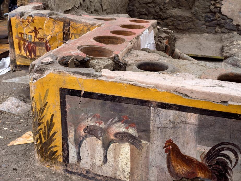 Les chercheurs ont retrouvé, peints dans des couleurs vives, des animaux, en particulier de la volaille et des canards colvert qui devaient être consommés avec du vin ou des boissons chaudes.