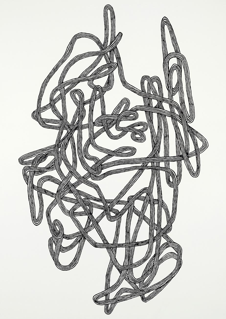 Le grand nœud, 2012, Julie Ouellet, huile et acrylique sur bois, 213 x 152,5cm