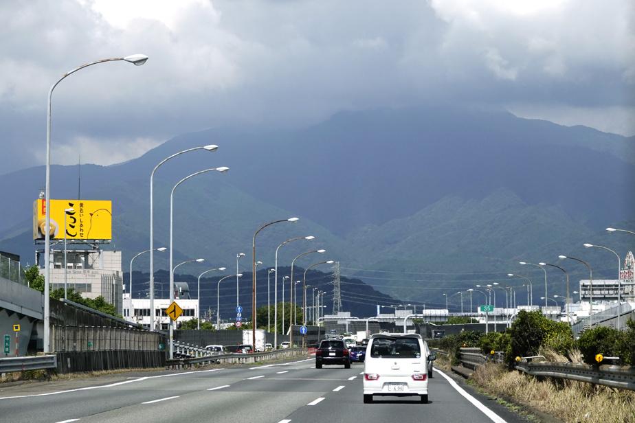 Pendant le trajet vers le circuit Fuji Speedway, à Oyama, le ciel se faisait menaçant, alors que le typhon Haishen approchait des côtes japonaises.