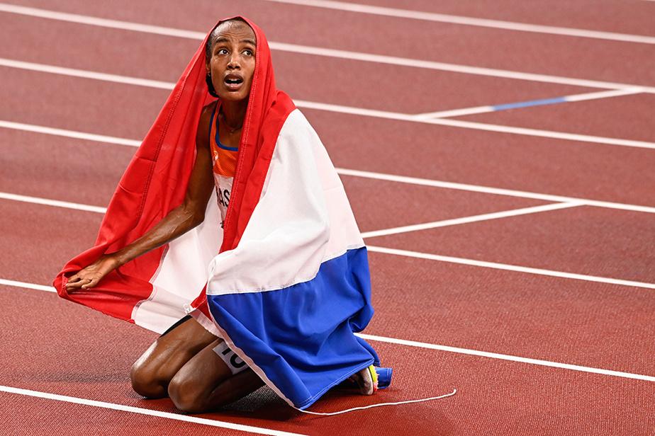 La Néerlandaise Sifan Hassan célèbre sa victoire 5000m féminin.