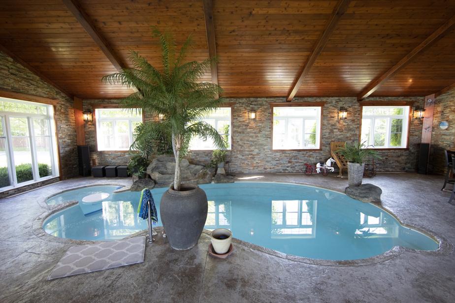 En 2010, les propriétaires ont ajouté une piscine intérieure à la maison. Dans ce lieu de rencontre par excellence, ils prennent leur petit-déjeuner. Les propriétaires travaillent beaucoup et n'ont pris que quelques vacances au fil des années. Cet aménagement caribéen les fait rêver!