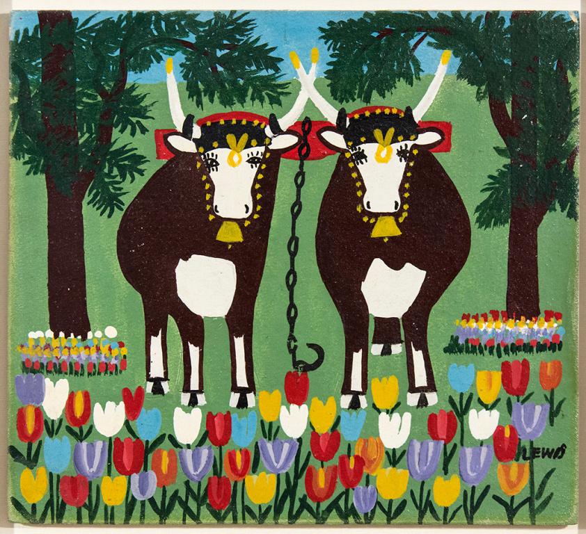 Oxen in Spring Three Legs, Maud Lewis, huile sur panneau,29,9cm x 33cm, vendue 24000$