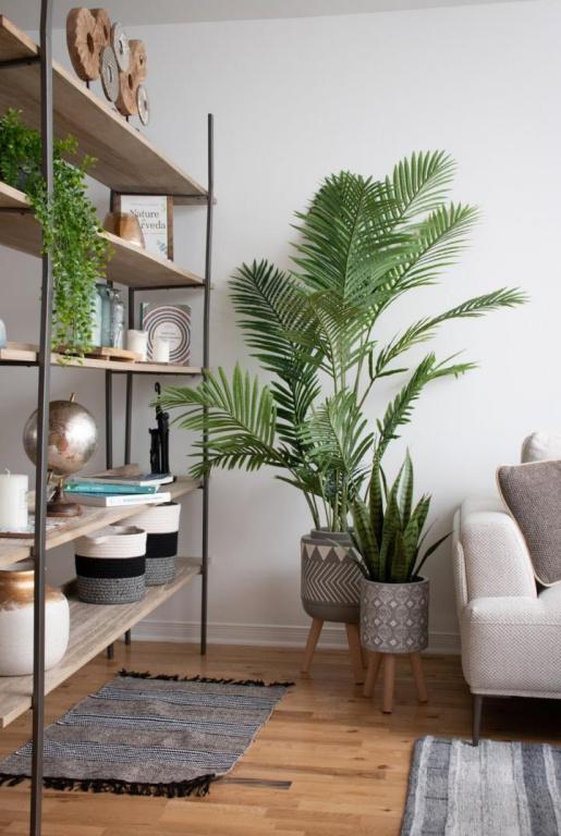 Un palmier areca jouxte une sansevière verte, aussi artificielle (160$ et 110$), dans des cache-pots sur pattes aux motifs ethniques (150$ et 60$). Les plantes qui ont beaucoup d'ampleur, comme le palmier, sont très populaires, constate Anick Thélusma, chargéede projet en marketing chez DécorsVéronneau.