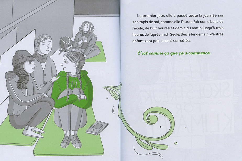 Extrait deGreta – La voix d'une génération, texte de Viviana Mazza, illustrationsd'ElisaMacellari, traduction d'Isabelle Enderlein, Les Éditions Petit Homme
