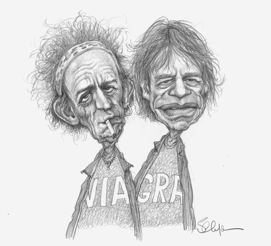 Keith Richards et Mick Jagger, 2002, Serge Chapleau. © Musée McCord