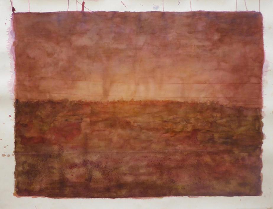 Paradise, 2019, Ripley Whiteside, aquarelle et encre de noix, 77,5cmx101,6cm