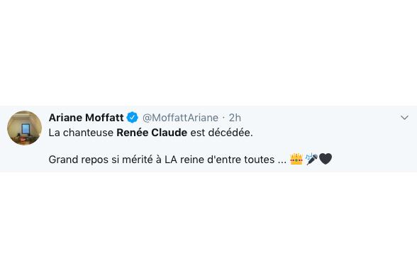 «Grand repos si mérité à LA reine d'entre toutes», a tweeté Ariane Moffatt.