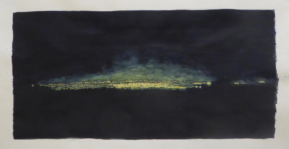 Rock Spring, 2019, Ripley Whiteside, aquarelle, 55,9cmx101,6cm