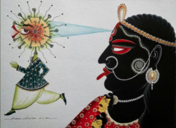 Le peintre indien Bhaskar Chitrakar a réalisé des toiles traditionnelles dans lesquelles il a introduit un virus très orientalisé, doté d'un oeil unique.