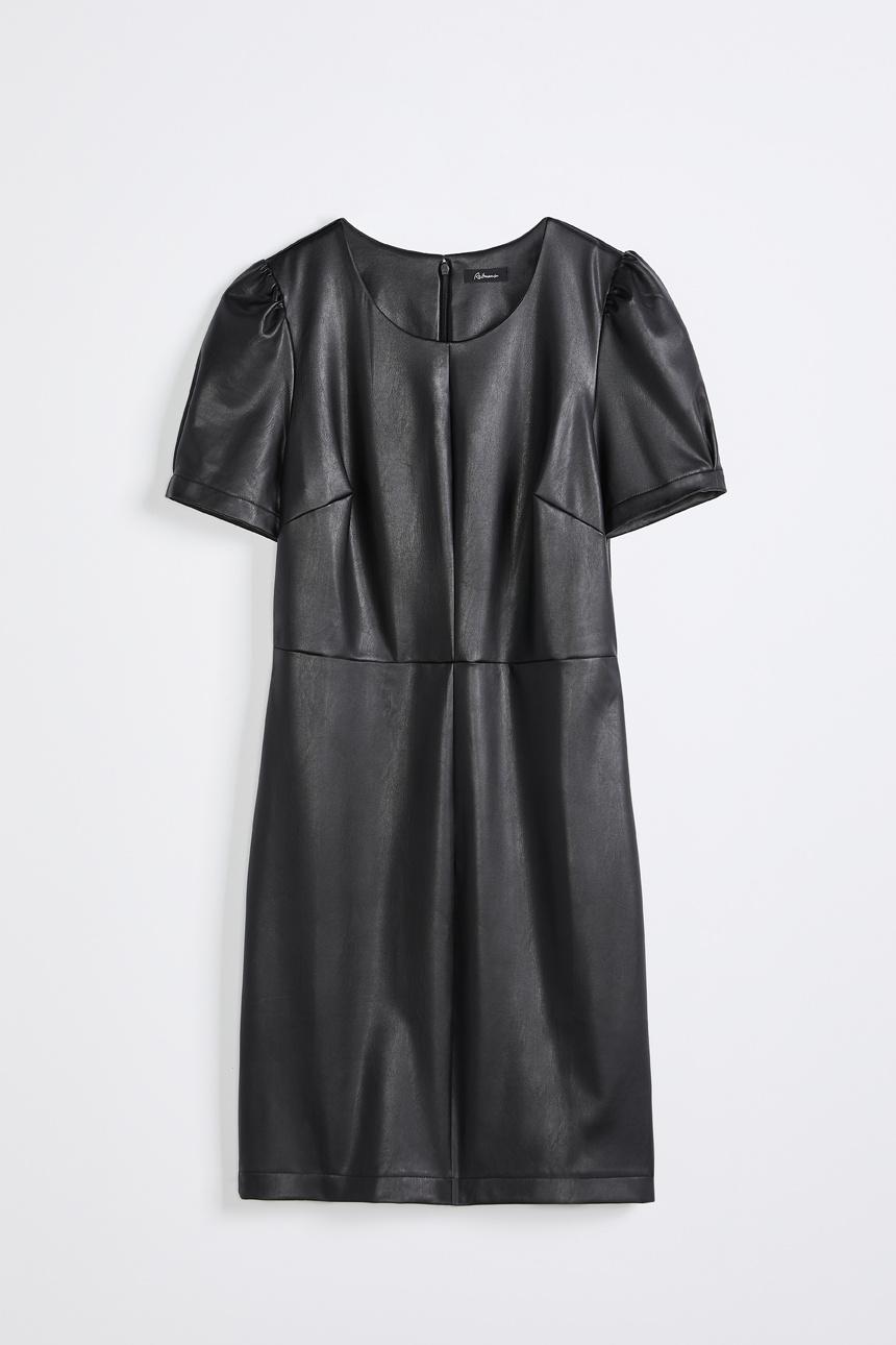 Robe ajustée en simili cuir à manches courtes bouffantes, Reitmans, 74,90$