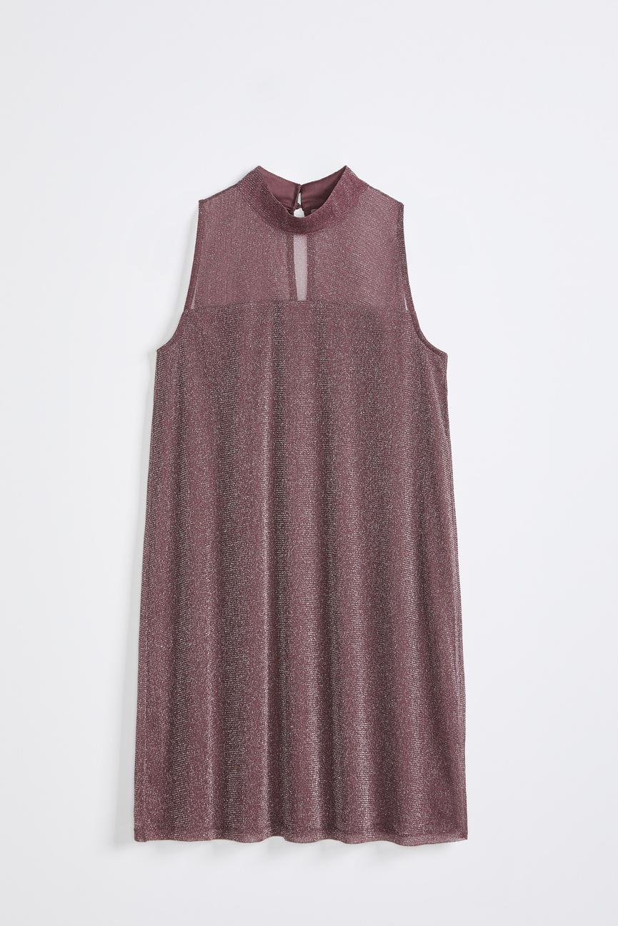 Robe trapèze en mailles scintillantes à col montant sans manches, Reitmans, 69,90$