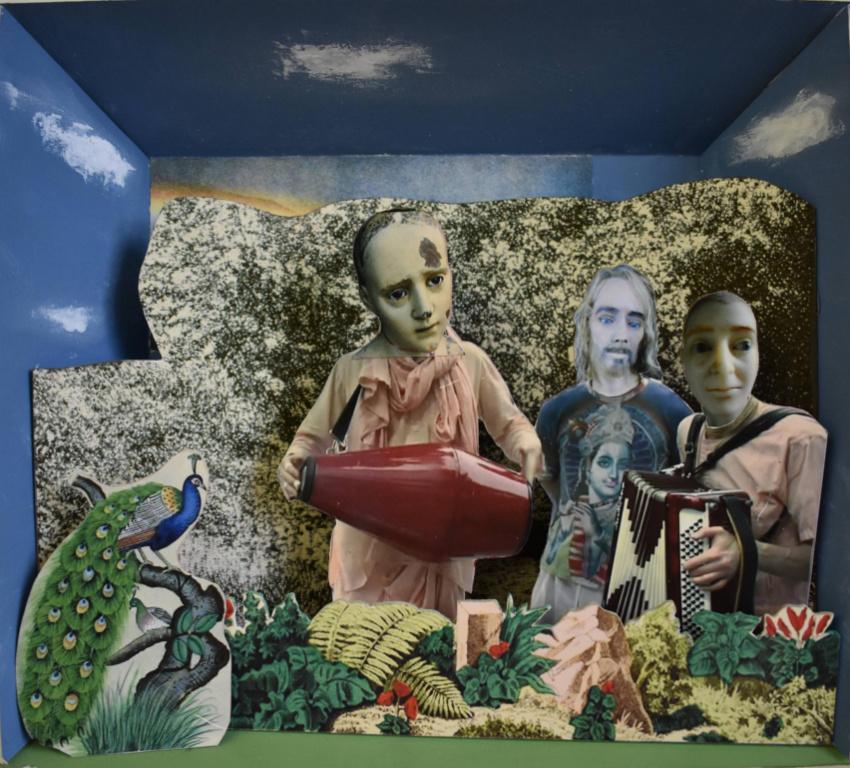 Summer of 73, 2019, David Elliott, collage avec papier imprimé, carton, carton mousse, bois et acrylique, 25 cm x 28 cm.