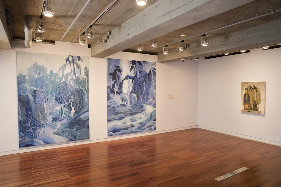 À gauche, les huiles sur toile Wild Willow et Goldstream, de Rick Leong, datant de 2019. Avec l'aimable permission de l'artiste et de la galerie Bradley Ertaskiran.