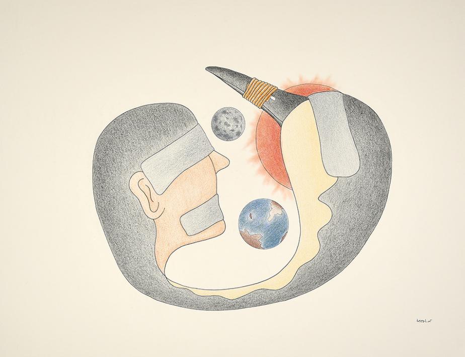 Sans titre (072-0853), 1996-1997, Qavavau Manumie, graphite, encre et crayon de couleur, 50,8cm x 66cm