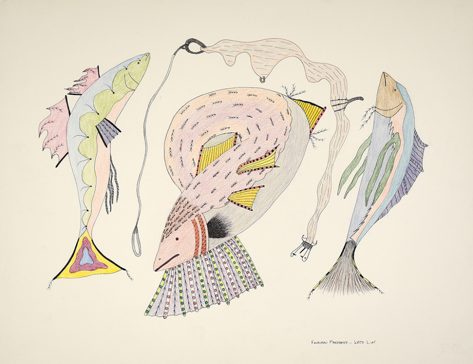 Sans titre (072-0064), 1984-1985, Qavavau Manumie, encre et crayon de couleur, 50,2cm x 66cm
