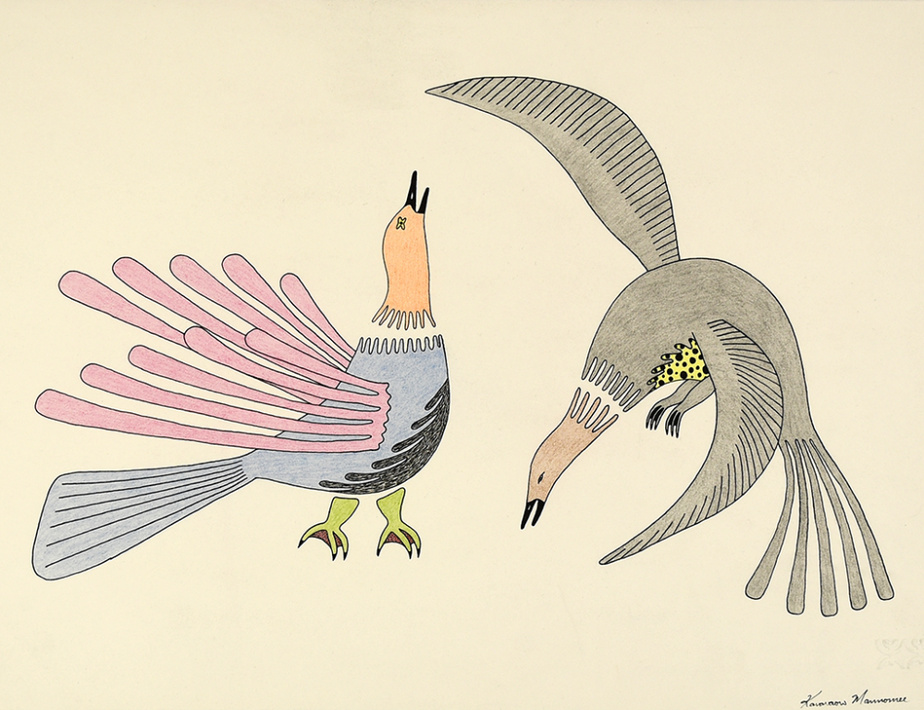 Sans titre (072-0004), 1982-1983, Qavavau Manumie, crayon de couleur et encre, 33cm x 50,2cm