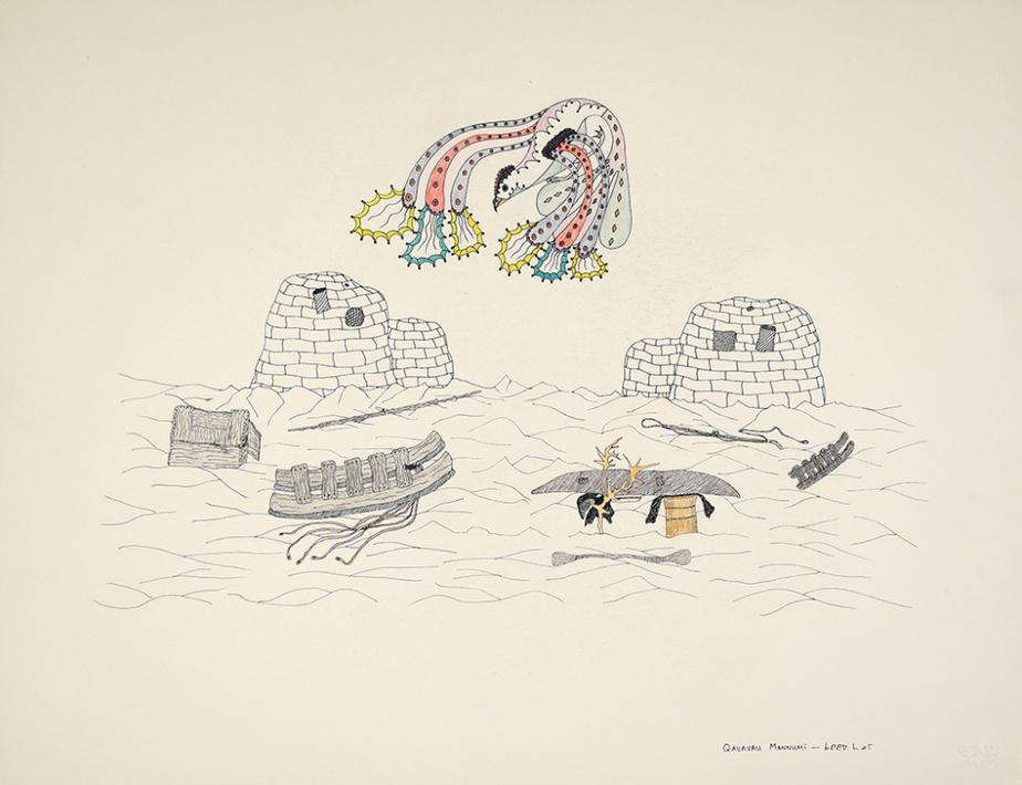 Sans titre (072-0079), 1984-1985, Qavavau Manumie, encre et crayon de couleur, 50,8cm x 66cm