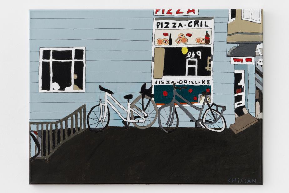 Pizzaria, 2021, Christian Carlsen, acrylique sur toile, 60cmx80cm