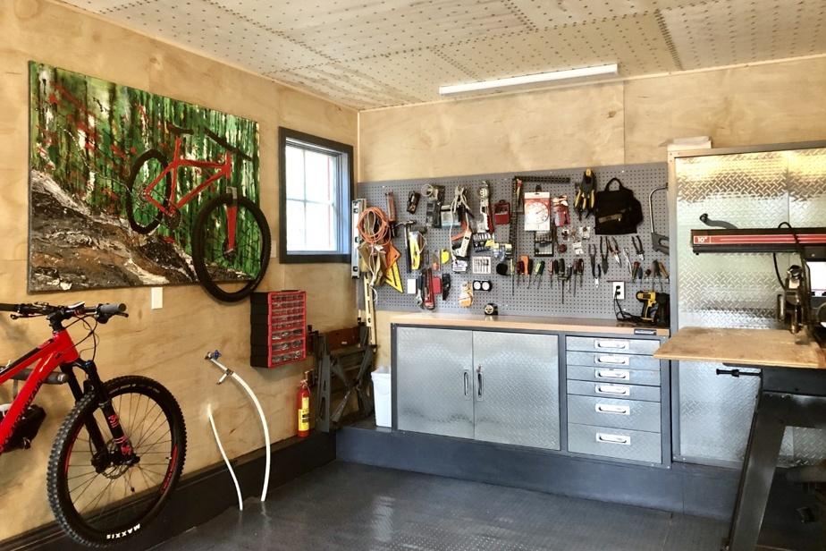 À la retraite, Hélène Tremblay-Allen et son conjoint sont constamment à la recherche de projets. Au cours des derniers mois, ils ont consacré leur fonds «voyage» à la transformation de la moitié inutilisée (et encombrée) de leur garage double. N'ayant qu'une voiture, ils ont divisé le garage en deux et ont transformé l'espace doté de plusieurs fenêtres en un atelier de menuiserie, un atelier mécanique pour vélos et une galerie d'art. Ils sont dorénavant au chaud et au sec pour entretenir leurs vélos, hiver comme été.