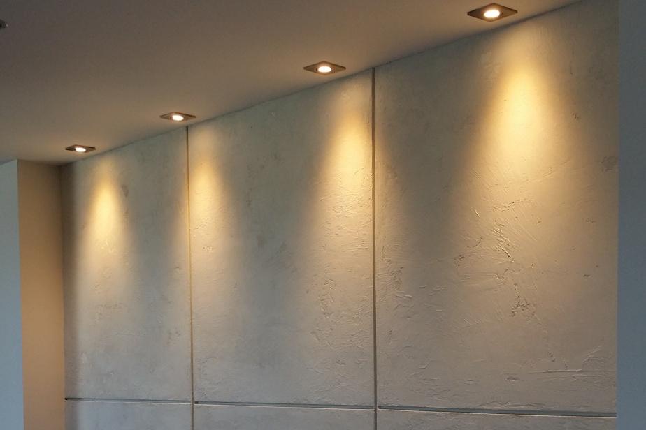 Plutôt que de travailler directement sur la surface du mur, Manon-Rita Babin a appliqué l'enduit sur des panneaux de MDF montés sur le mur dans un deuxième temps.