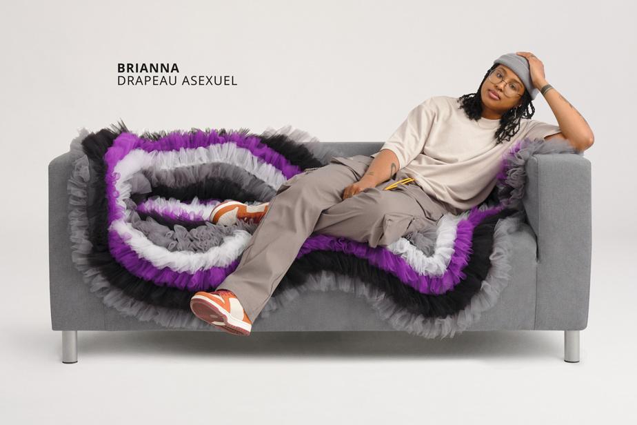 Sofa inspiré du drapeau asexuel, une œuvre d'Ali Haider