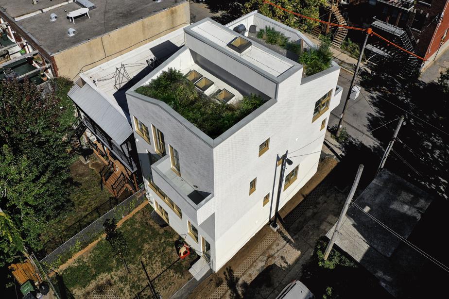 La famille dispose d'un jardin, ainsi que d'un potager sur le toit, accessible depuis un puits de lumière, à l'arrière de la grande terrasse de l'appartement sur trois niveaux mis en location.
